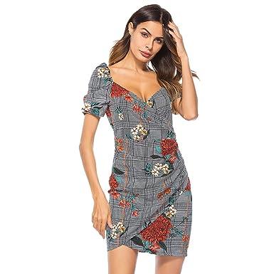 YiLianDaD Mujer Vestido de Fiesta Corto Vestidos Floral Elegante ...