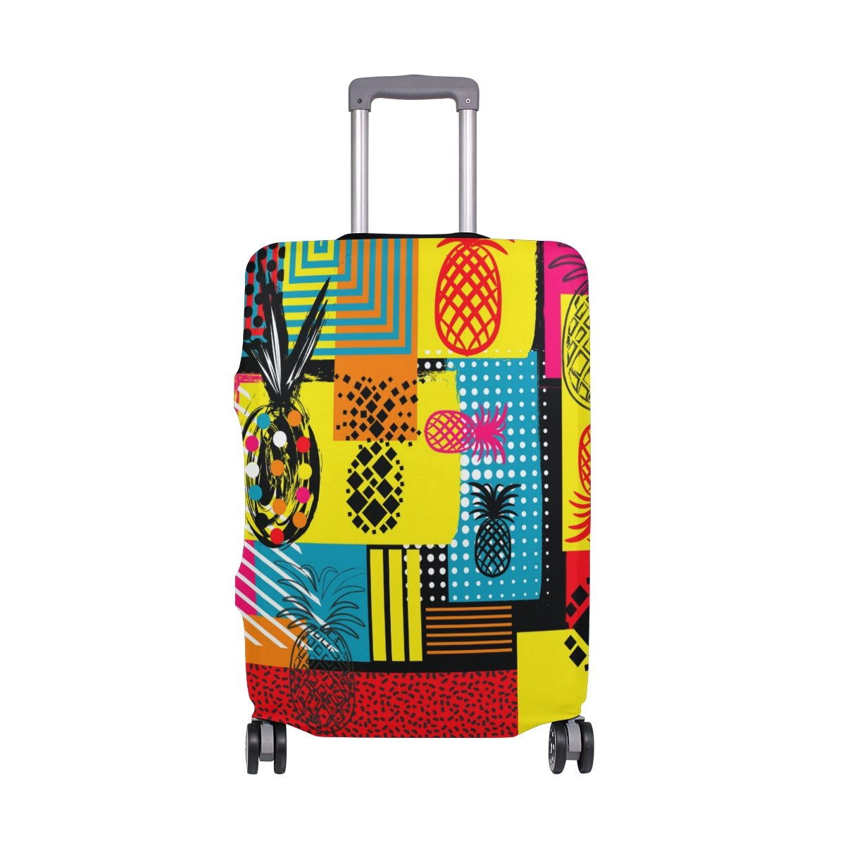 Abstract Plaid Colorful Hippie Pineapples Summer Suitcase Luggage Cover Protector for Travel Kids Men Women