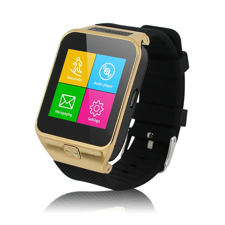 Excelvan PW4-G Smartwatch Móvil Libre 2G (Reloj Bluetooth, Cámara, Sync SMS Llamadas Música, Anti-Pérdida, Socio de Deporte) - Dorado