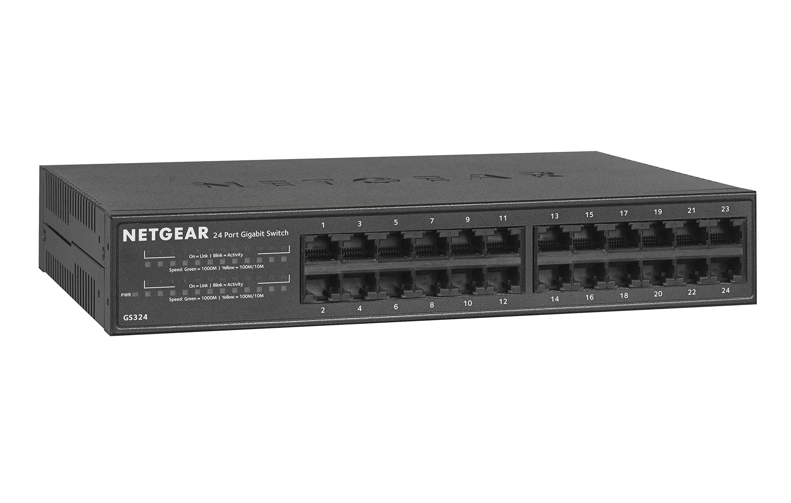 NETGEAR 24-Port Gigabit Ethernet Unmanaged Switch (GS324) - Desktop/Rackmount, Fanless Housing for Quiet Operation by NETGEAR