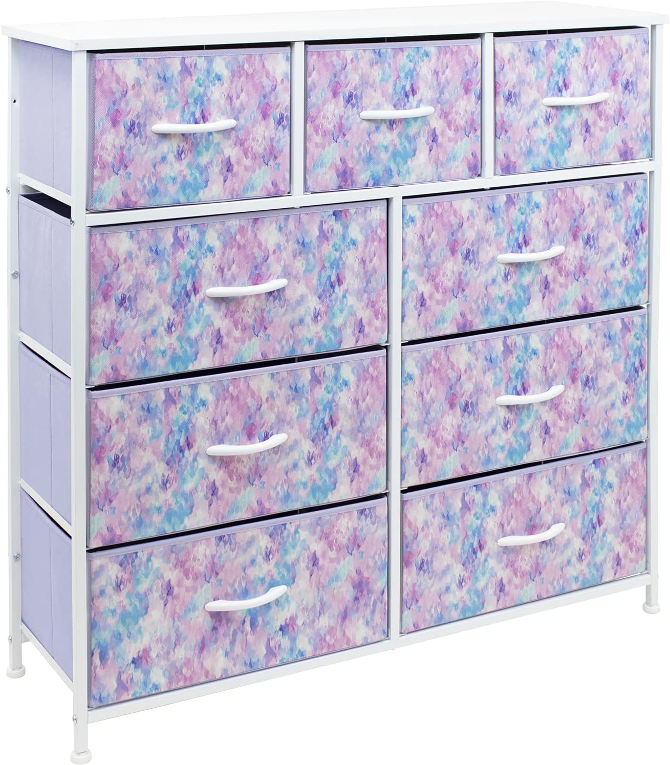 Sorbus Dresser with 9 Drawers - Furniture Storage Chest Tower Unit for Bedroom, Hallway, Closet, Office Organization - Steel Frame, Wood Top, Tie-dye Fabric Bins (9-Drawer, Blue/Pink/Purple)