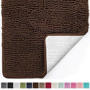 Gorilla Grip Original Luxury Chenille Bathroom Rug Mat (44 x 26), Extra Soft Absorbent Large Shaggy Rugs, Machine Wash/Dry, Perfect Plush Carpet Mats Tub, Shower Bath Room (Brown)