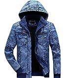 YONGM Men's Winter Fleece Lined Denim Jackets Warm Outwear Coat with Hood
