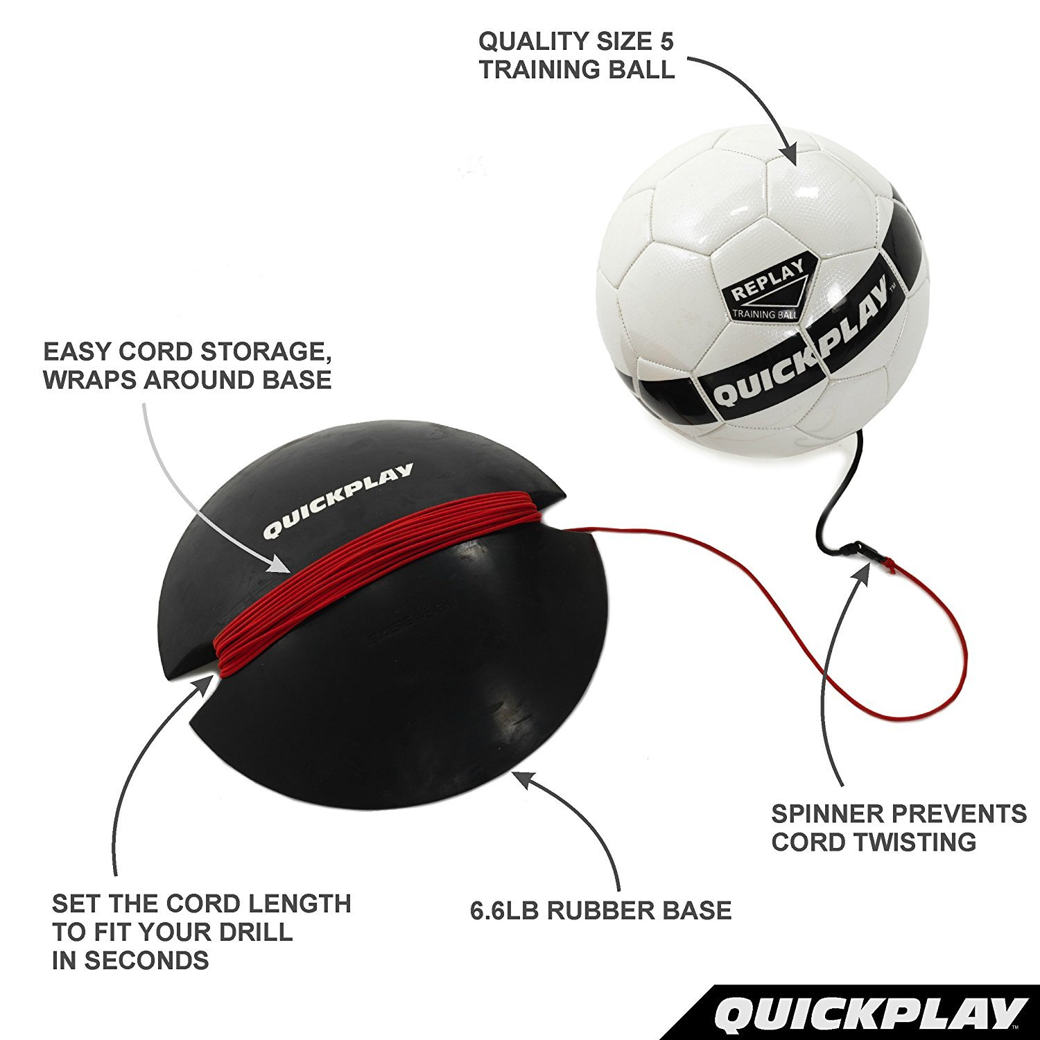 The Ultimate Hands Free Soccer Trainer QuickPlay Replay Soccer Training Ball Adjustable Bungee Elastic Training Ball with Base Weight