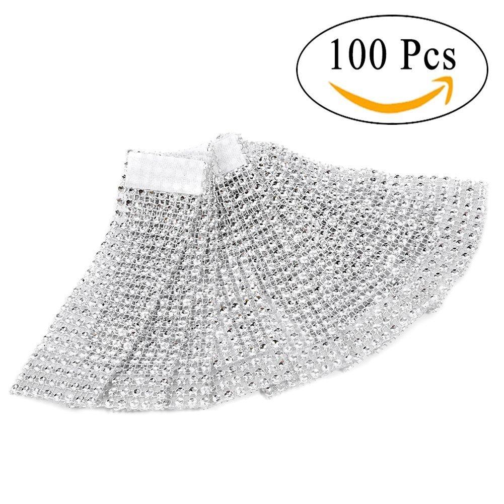 100pcs servilleteros de mesa servilletero anillo Diamante cinta de bobina con cierre decoración para Navidad Fiesta Boda Yosoo