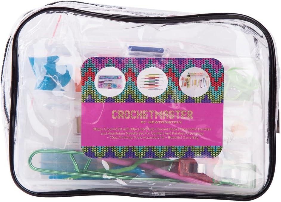 96Pcs Crochet Hooks Ergonomic Knitting Needle Weave Yarn Kits with Storage Case