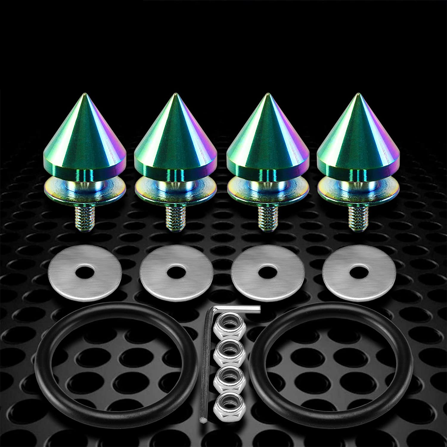 Amazon Com Jdmbestboy Jdm Neo Chrome Spiked Quick Release Fasteners For Car Bumpers Trunk Fender Hatch Lids Kit From Automotive