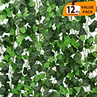ElaDeco 94 ft 12 Pack Artificial Ivy Garland Vine,Plastic Ivy Vines Fake Ivy Garland...