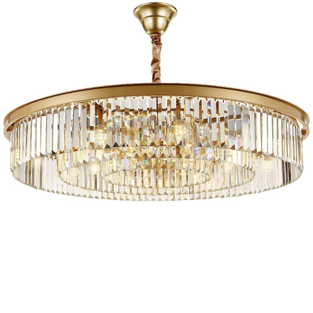 Wenrun Lighting Wohnzimmer Restaurant LED K9 Kristall und Gold Edelstahl Kronleuchter Deckenlampen Hängelampe Lüster Leuchte Lampen Licht Mit LED Glühbirne (D50cm x H19cm)