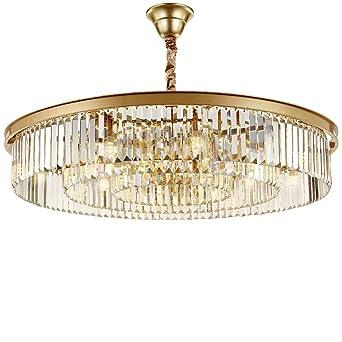 wenrun Lighting Salón Restaurante LED K9 Cristal y oro Acero inoxidable Araña Techo Lámpara Techo Araña