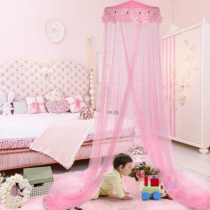 Rose Moustiquaire Pliable Hongzer Princesse Moustiquaire /Él/égant Dentelle Princesse Enfants Lit Respirant Auvent Rideau Moustiquaire pour Filles Chambre Literie