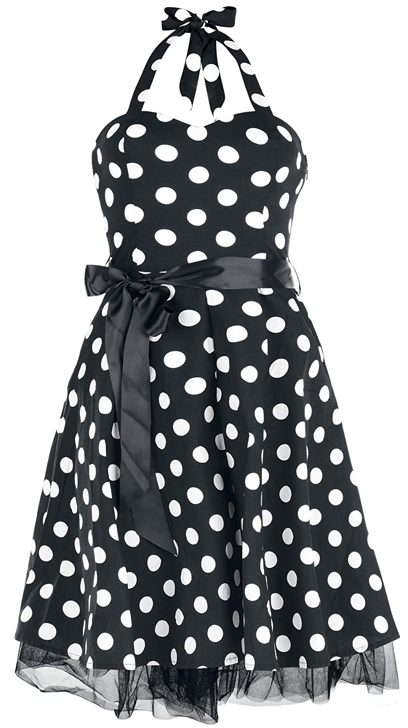 H&R London Big Dot Dress Kleid schwarz