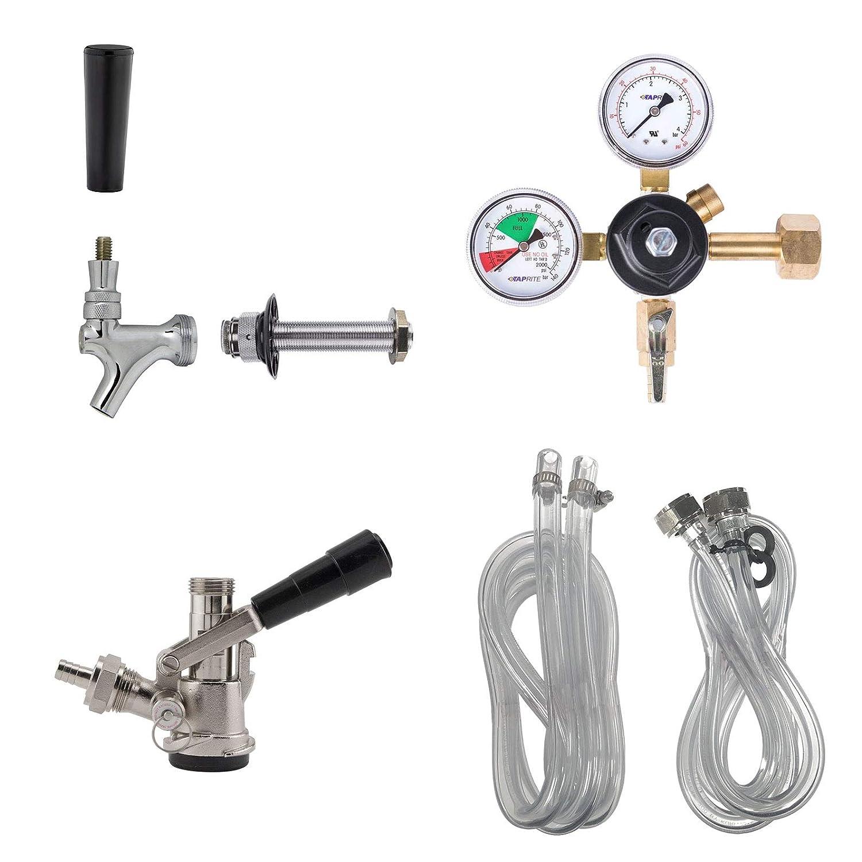 Kegerator Conversion Kit - Single Tap Draft Beer Keg Refrigerator Setup (CO2 Tank NOT Included)