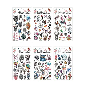 Lurrose 6 piezas etiqueta engomada del tatuaje patrón de animales ...