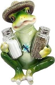 """Pond Picnic Frog Wearing Sombrero Hat Salt Pepper Shakers Holder Figurine Set 7.25""""H"""