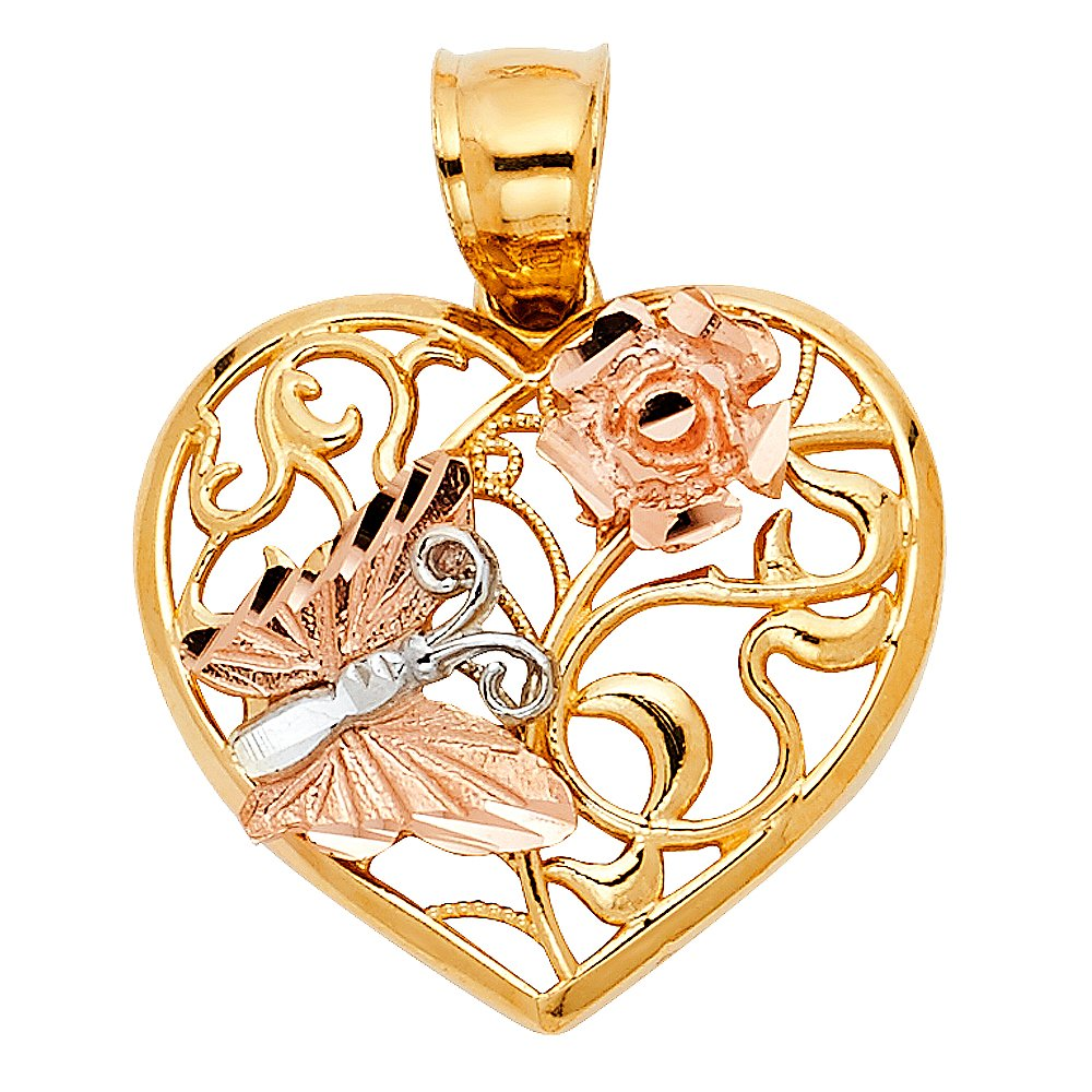 with 18 Rolo Chain 20mm x 15mm Million Charms 14K Tri-Color Gold with White CZ Accented 15 Years Birthday or Anniversary Heart Charm Pendant