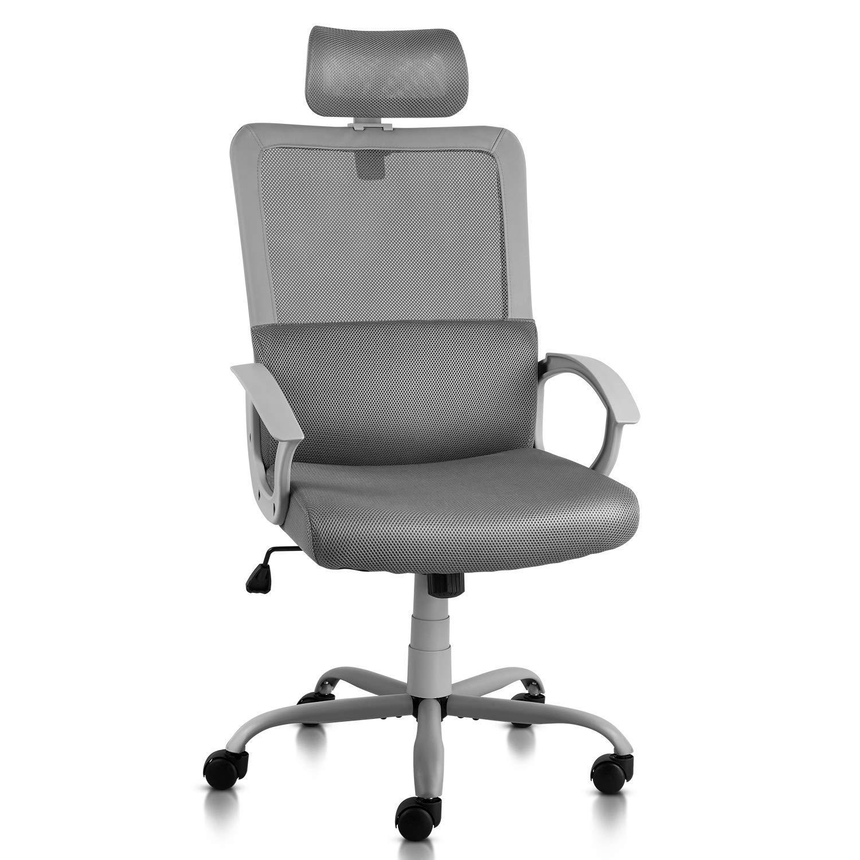 Ergonomic Office Chair Adjustable Headrest Mesh Office Chair Office Desk Chair Computer Task Chair (Light Gray) by Smugdesk