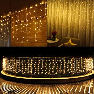 SUPSOO LED Solar Icicle String Lights,20Ft 264 LEDs Waterproof Extendable Curtain Icicle Lights Fairy String Lights Christmas Lights for Bedroom Patio Yard Garden Wedding Party (Warm White)
