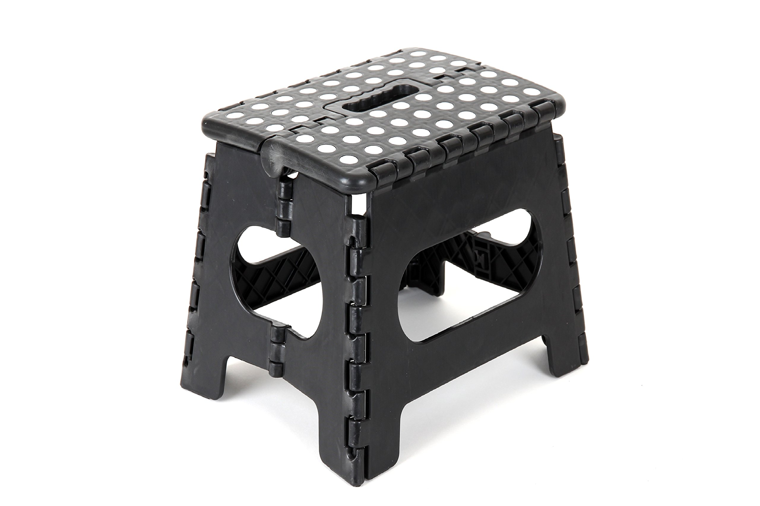 "Epica Folding Step Stool – Ideal Kids Adults-Non-Slip 9"" x 11"" Platform - Adds 9 Inches Height - Holds Up to 350 lbs. - Black by Epica"
