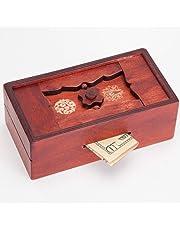 Bits and Pieces - Japanese Secret Puzzle Box Brainteaser - Wooden Secret Compartment Brain Game for Adults - Stash Your Cash Away