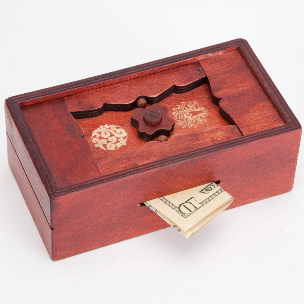 Bits and Pieces - Japanese Secret Puzzle Box Brainteaser - Wooden Secret Compartment Brain Game for Adults - Stash Your Cash Away