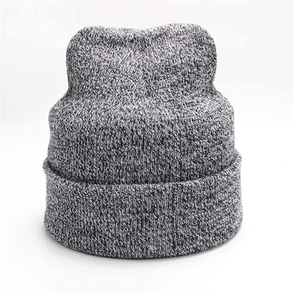 Plain Knitted Hat Winter Cap Women's Polyester Soft Unisex Bonnet Hat Female Casual Hip Hop Skullies Beanies Men Autumn Beanies (Color : Light Gray, Size : M) by ERNANGUA