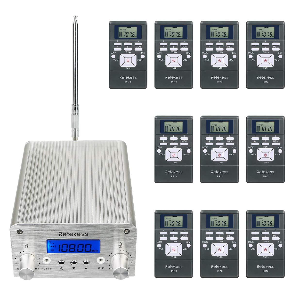 Retekess TR501 1W 6W FM Transmitter Long Range Wireless Listening Center with 10 PR13 FM Radio Receivers for Factory Church Classroom School by Retekess