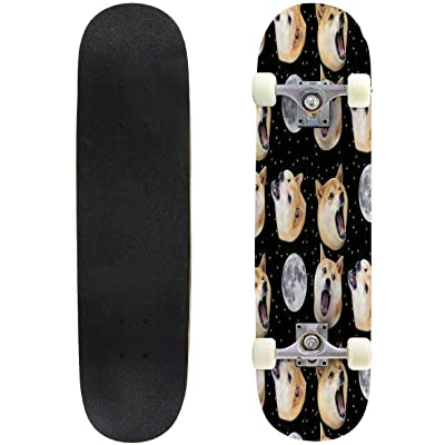 Classic Concave Skateboard Three Doge Night Howling at The Moon Longboard Maple Deck Extreme Sports and Outdoors Double Kick Trick for Beginners and Professionals : Sports & Outdoors