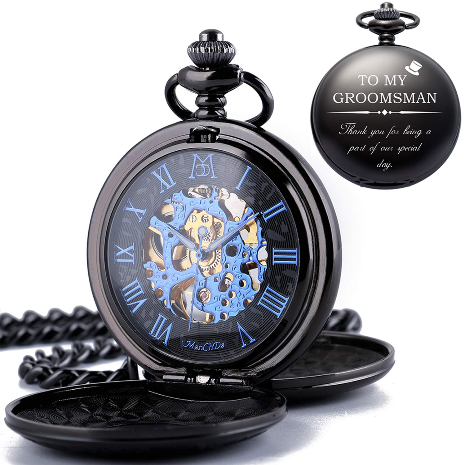 ManChDa Mechanical Groomsman Present Double Cover Skeleton Engraved Pocket Watches with Gift Box and Chain Customized Customization Custom Engraving for Wedding Groomsman Bestman