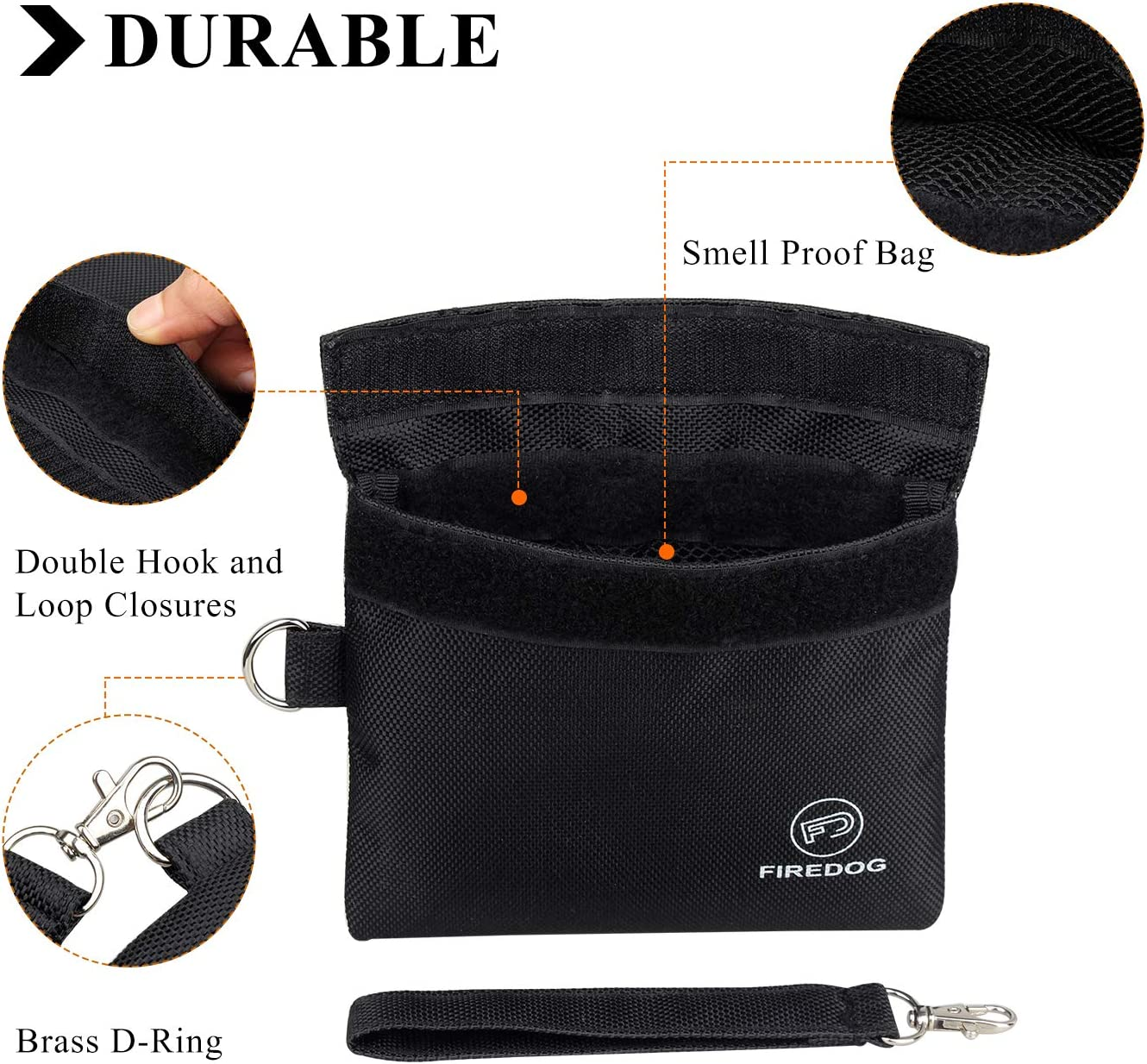 PU Leather Odor Proof Pouch for Dog Tested 3x6 Small Travel Storage Pocket Brown FIREDOG Smell Proof Bags