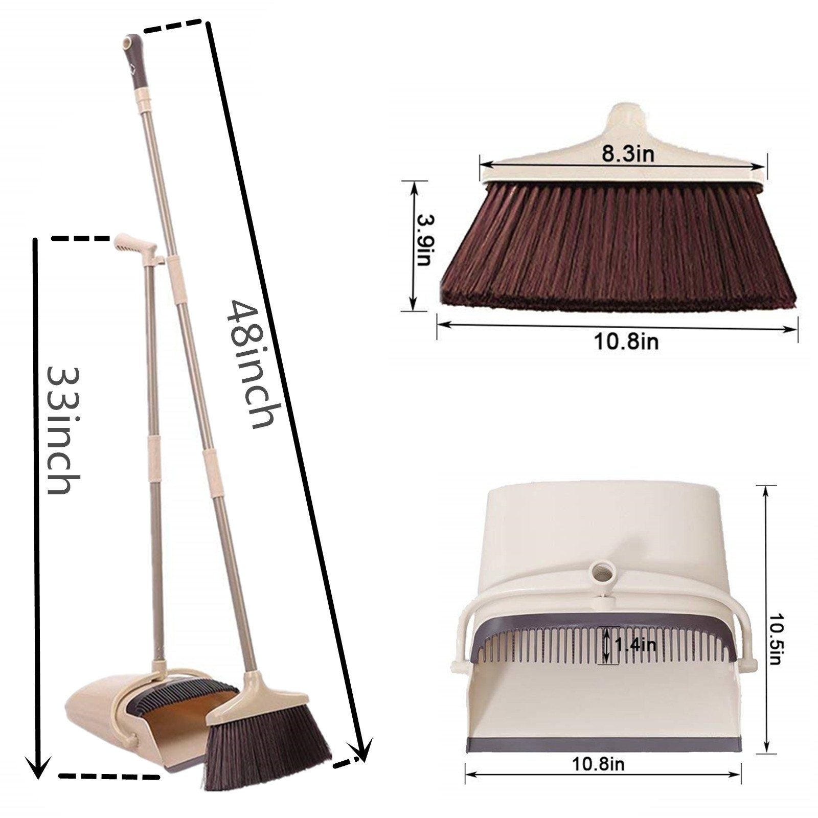 Broom and Dustpan Set, 48 inch Extendable Broom Standing Upright - Wind Proof - Foldable Sweep Set with Soft Bristles & Rubber Edge & Dust Pan with Teeth, Perfect for Kitchen, Garden, Office, etc. by SerBion (Image #2)