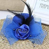 Feather Flower Mesh Net Fascinator Pillbox Hat, Wedding Hat with Hair Clip, Banquet Cocktail Tea Party Church Headwear…