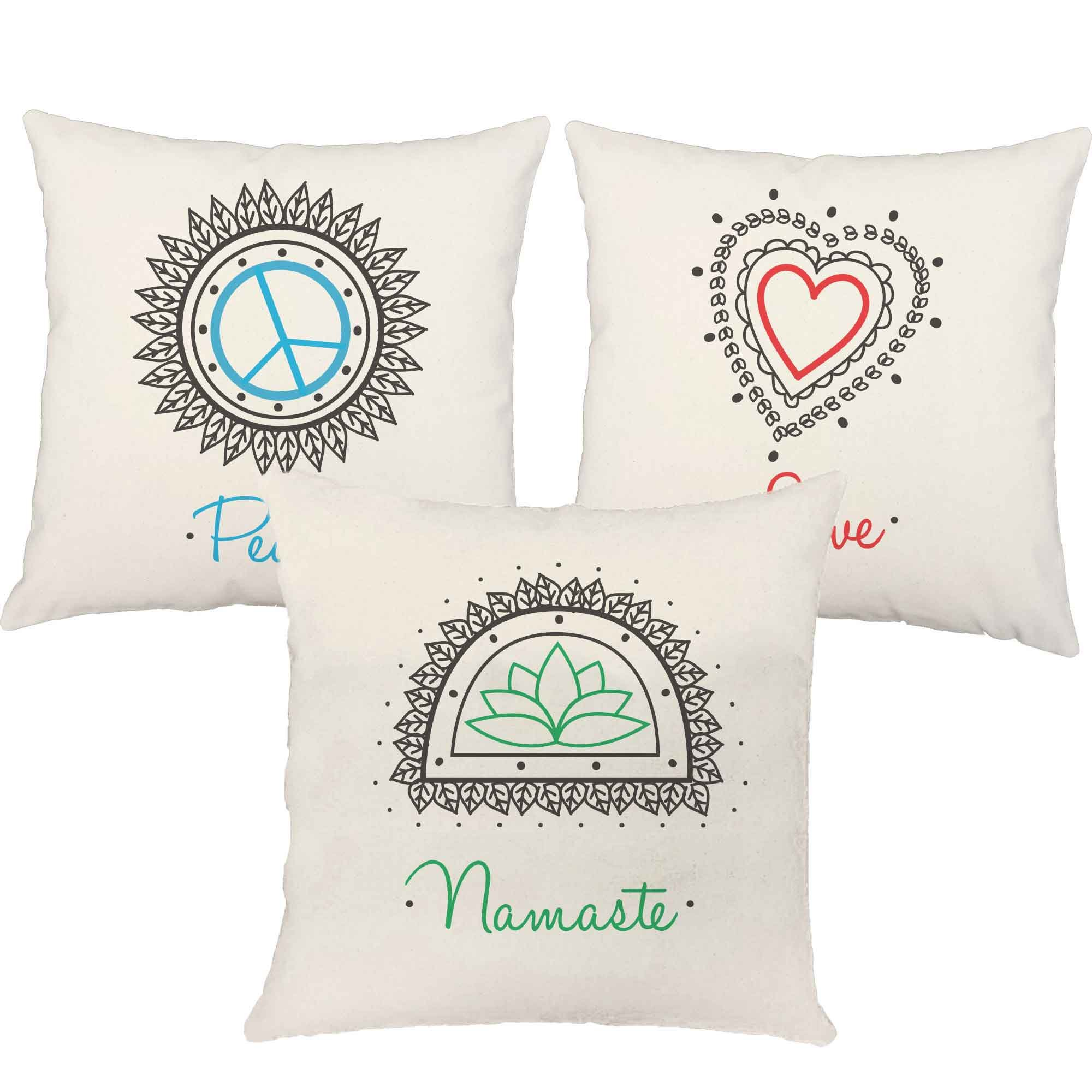 Set of 3 RoomCraft Peace Love Namaste Throw Pillow Covers 20x20 Inch Square White Outdoor Yoga Shams