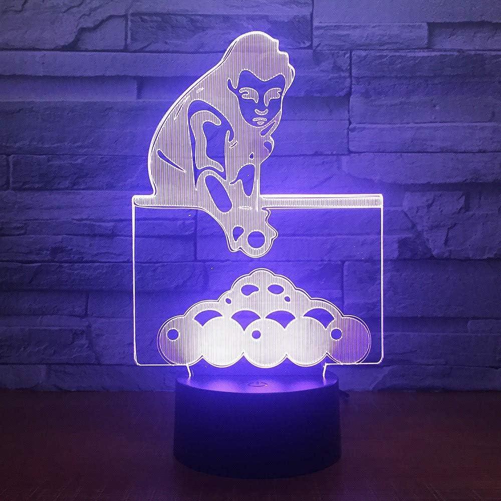 Juego de billar 3D 7 color luz visual led luz nocturna para niños toque lámpara de mesa usb: Amazon.es: Iluminación