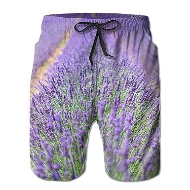 4d6490de Lavender Flowers Men's/Boys Casual Swim Trunks Short Elastic Waist Beach  Pants with Pockets