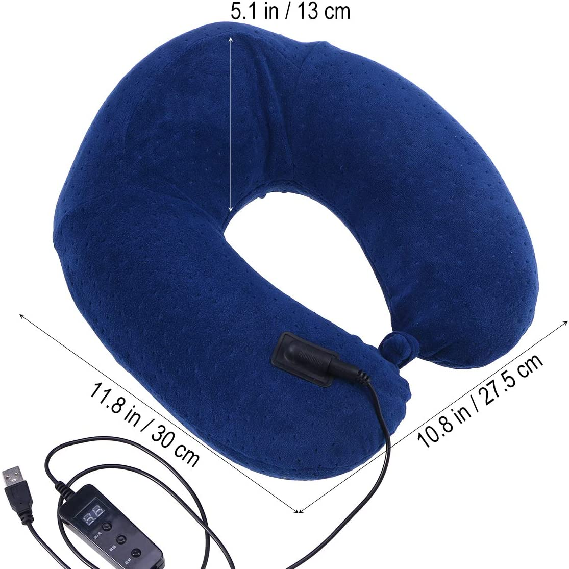 Navy HEALIFTY USB Heatable Pillow U-shaped Travel Pillow Support Cushion Travel Pillow for Home or Office without Battery