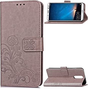 Carcasa para Funda Huawei Mate 10 Lite, Funda Huawei Maimang 6 Carcasa, Cartera Flip Funda Caja de Cuero de la PU Carcasa con Tapa Flip Case TPU Funda (Gray). RF09: Amazon.es: Electrónica