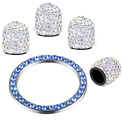 Valve Stem Caps 4 Pack Handmade Crystal Rhinestone Universal Tire Valve Dust Caps Bling Car Accessories with 1 Piece Ring Emblem Sticker for Auto Ornaments (White Blue): Automotive