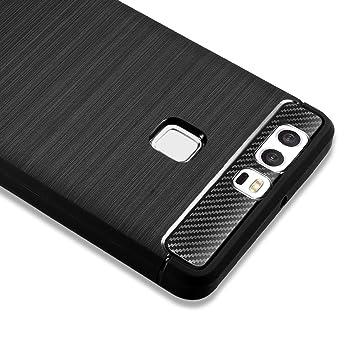 Funda Huawei P9, Funda P9 Carcasa Case Silicona [Rugged Armor] Resilient [Black] Ultimate Protection Rugged Design with Matte Finish, Funda para ...