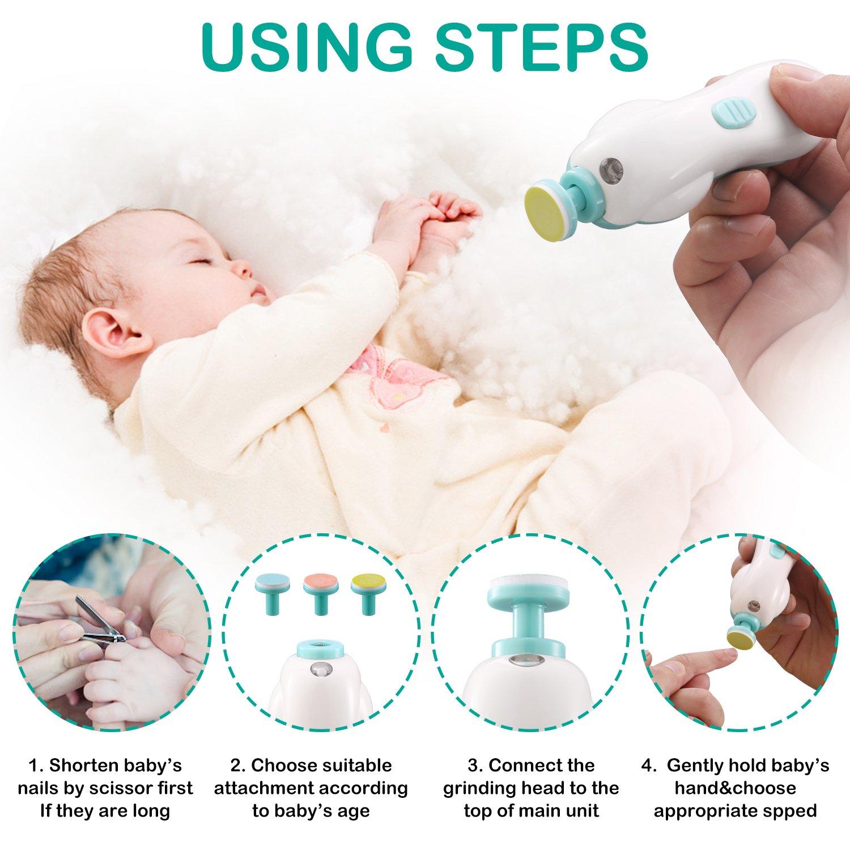 lima de uñas de bebé, [Carga USB] 6 en 1 Juego eléctrico de manicura ...