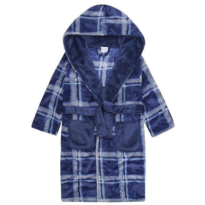4 KIDZ Boys Plaid Hooded Dressing Gown Fluffy Fleece Robe