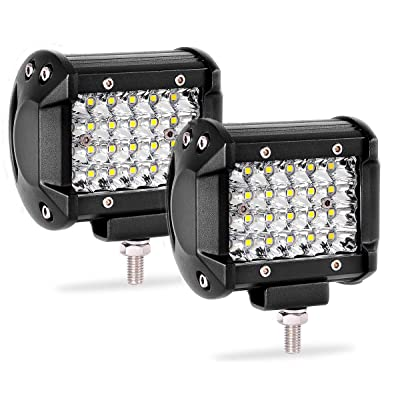 Quad Row Led Pods 2Pcs 4'' 144W LED Light Bar Spot Beam LED Cubes Compatible with Truck Boat Motorcycle Jeep: Automotive