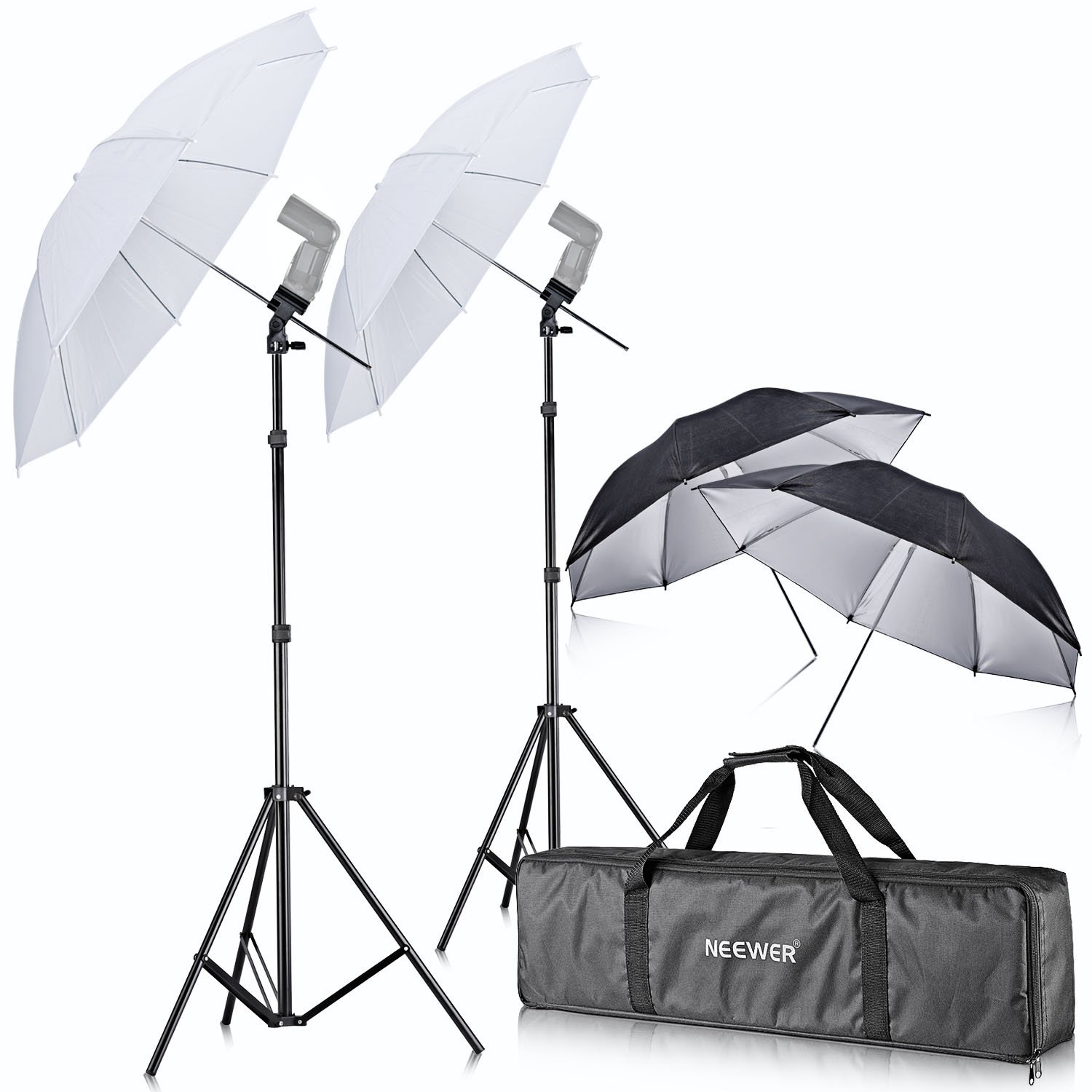 Neewer Off Camera Double Speedlight Flash ShoeMount Swivel Soft Umbrella Kit for Canon 430EX II,580EX II,600EX-RT,Nikon SB600 SB800 SB900,Yongnuo YN 560,YN 565,Neewer TT560,TT680,TT850,TT860 by Neewer (Image #1)