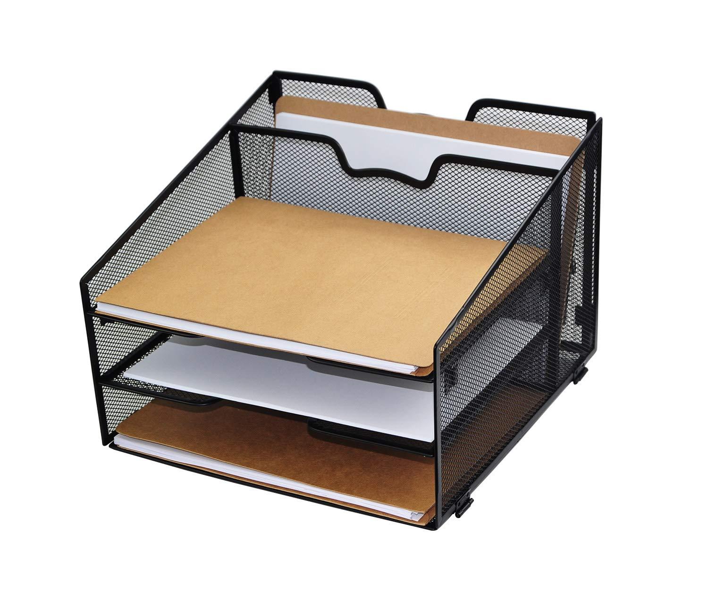 Desk Organizer, Mesh Desktop File Document Letter Tray Organizer, Office Desktop Accessories Organizer, Black HandyHoffice