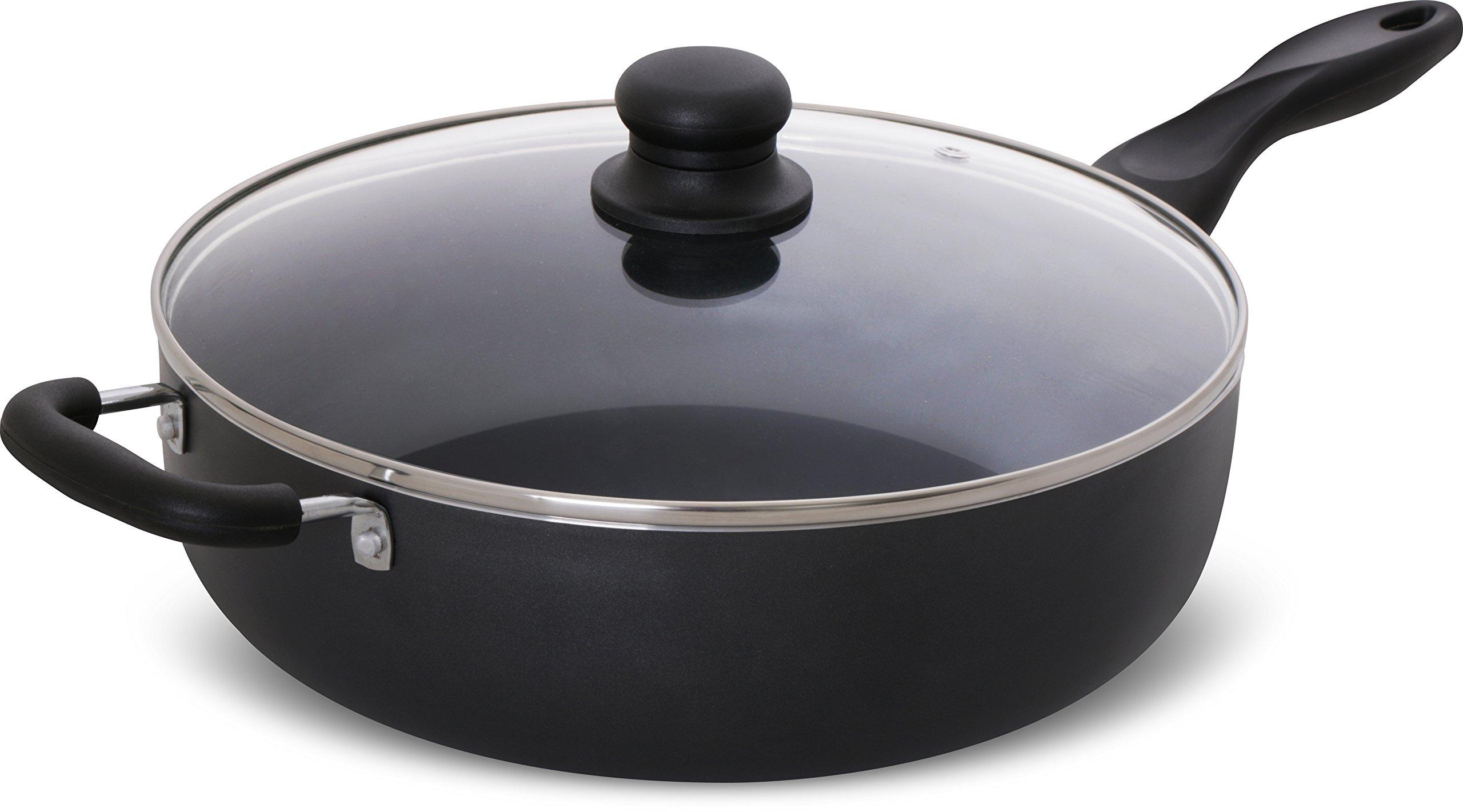 Utopia Kitchen - 11 Inch Nonstick Deep Frying Pan - 4.6 Quart Sauté Pan - Aluminum Jumbo Cooker with Glass Lid - Dishwasher Safe by Utopia Kitchen (Image #2)