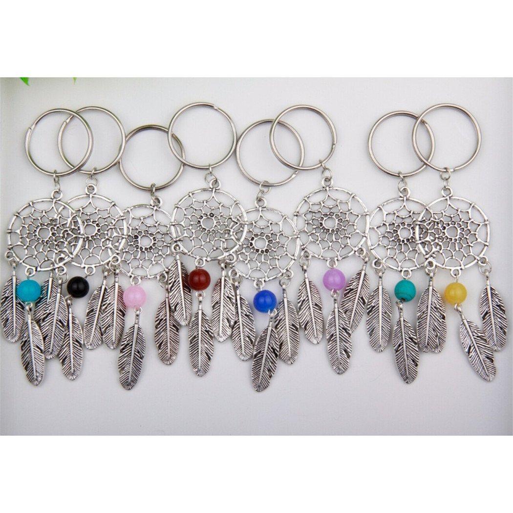 10Pcs Silver Dream Catcher Keychain Boho Style Dreamcatcher Keyring/&Feather/&Bead