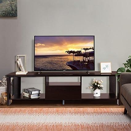 Bon Amazon.com: Tangkula TV Stand Home Living Room Modern Wood Entertainment Media  Center Storage Console W/Drawer And Display Shelf TV Cabinet (Espresso ...