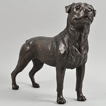 Rottweiler Dog Sculpture Cold Cast Bronze Statue Ornament Figurine Home Decor Pets Gift Idea H15cm