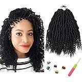 10Inch Bomb Twist Crochet Hair Extensions 6 Packs Spring Twist Hair Prelooped Crochet Braids Synthetic Hair Pre-twist…