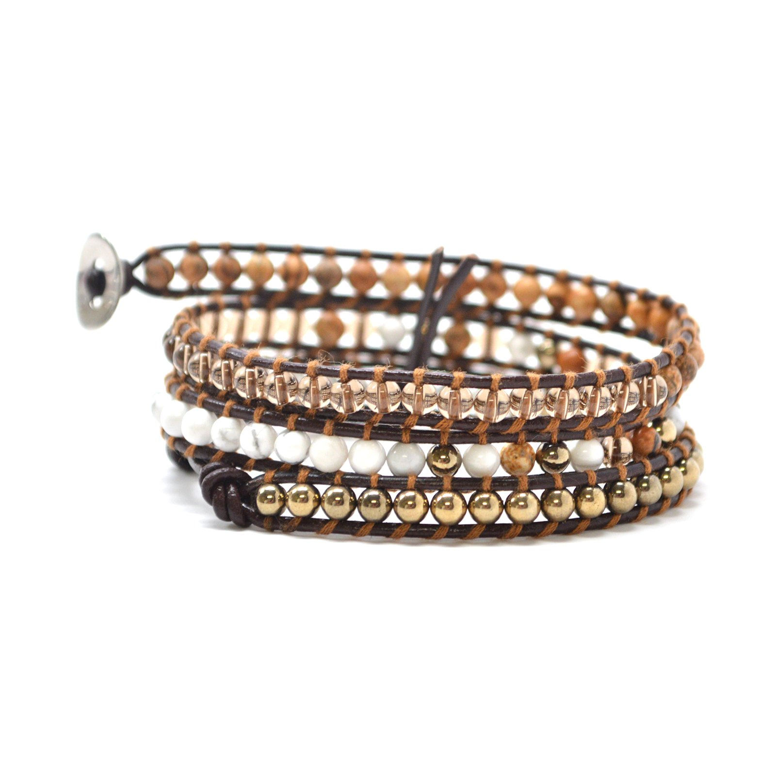 Organic Bohemian Boho Style Brown Gold White Clear Agate Beads 3-4 Leather Wrap Bracelet Jewelry Fashion